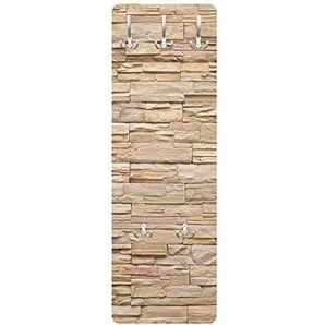Bilderwelten Garderobe - Steinoptik Asian Stonewall - Große helle Steinmauer aus wohnlichen Steinen, Größe HxB: 139cm x 46cm