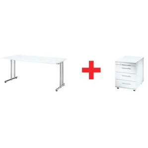Möbel-Set »Flexiline II« 2-teilig, Schreibtisch mit C-Fuß weiß, HAMMERBACHER