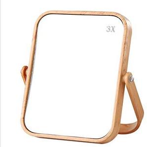 Generic Runder Tischspiegel Aufsatz-Kosmetikspiegel Doppelseitiger Tischspiegel Doppelseitiger Holzspiegel Kosmetikspiegel 360 Grad drehbarer Spiegel Kosmetikspiegel