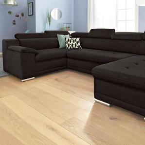 sit&more Wohnlandschaft, wahlweise mit Bettfunktion, schwarz, Microfaser PRIMABELLE®