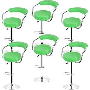 Barhocker 360° frei drehbar höhenverstellbar mit Fußstütze und Rückenlehne für Küche Bar | Grün | 6er-Set - OOBEST