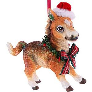 Gift Company - Hänger - Christbaumschmuck, Baumschmuck - Pferd Pony mit Weihnachtsmütze - (LxHxT): 10,2 x 10,4 x 3,6 cm