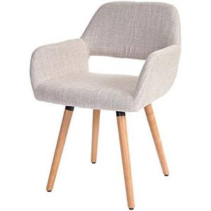 Mendler Esszimmerstuhl HWC-A50 II, Stuhl Lehnstuhl, Retro 50er Jahre Design ~ Textil, Creme/grau, helle Beine