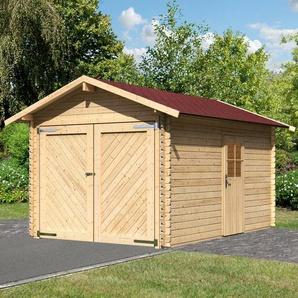 Karibu Set: Einzel-Garage »Blockbohlen 1«, natur inkl. Dachschindeln (BxT: 280x430 cm)