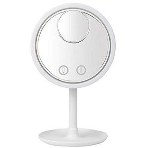 qianfeng Beleuchtete Kosmetikspiegel 3 in 1 5X Lupe LED-Lampe Desktop-Make-up Kosmetikspiegel mit Lüfter