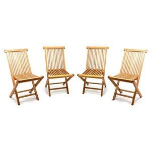 Divero GL05036_SL4 4er Set Gartenstuhl Balkonstuhl Hochlehner Teakholz Stuhl für Terrasse Camping kompakt klappbar behandelt Natur-braun