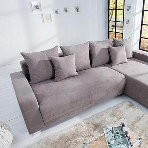 Modernes Ecksofa TAILORS CUT 255cm greige Soft Baumwolle Federkern Schlafsofa beidseitig aufbaubar