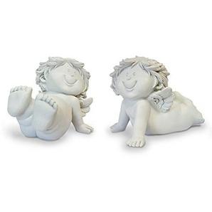 2x Deko Engel Figur Schutzengel Kind Liegend im Set je 9,5 cm, Polystein Creme Weiß, Babyengel Engelkinder Rubensengel Engelchen Engelfigur Dekoengel