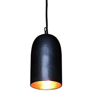 wohnfreuden Kupfer-Lampe aus Metall ? Hängelampe Pendelleuchte Hängeleuchte ? echte Handarbeit ? Kupferleuchten für Wohnzimmer Esszimmer Restaurant Küche ? schwarz 12x12x24 cm