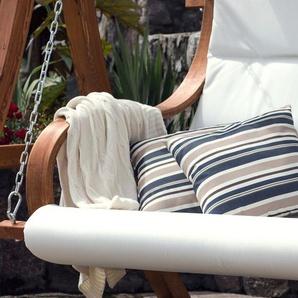 Gartenkissen dunkelblau-beige gestreift 40 x 40 cm