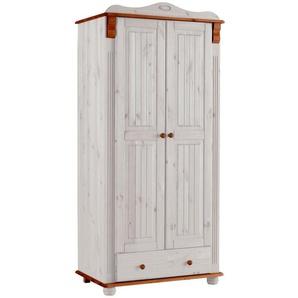 Home affaire Kleiderschrank »Adele« aus massiver Kiefer, weiß, 90 cm x 191 cm x 53,5 cm