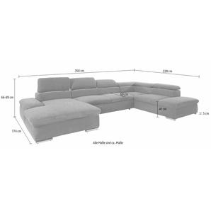 Sit&more Wohnlandschaft, Ottomane rechts, grau, B/H/T: 350x41x60cm, hoher Sitzkomfort