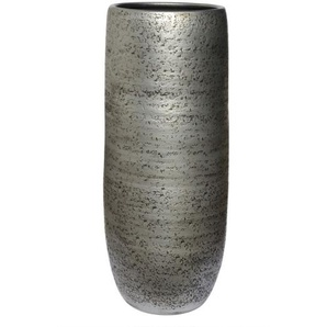 Vase aus Keramik H 40 /Ø 18 Silber/Schwarz