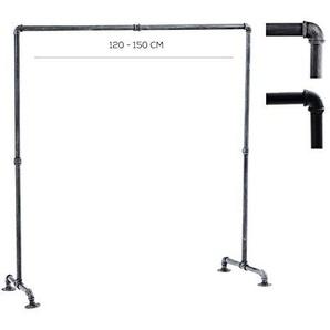 CLP Kleiderständer Jersey aus Metall im Angesagten Industrial Design | Höhe ca. 150 cm | Breite 120-150 cm 150 cm, Silber