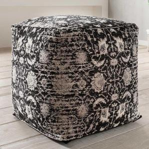 Gemusterter Sitzwürfel in Grau Schwarz Chenillegewebe