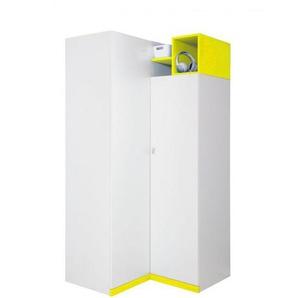 Jugendzimmer - Drehtürenschrank / Eckkleiderschrank Geel 22, Weiß / Gelb - Abmessungen: 195 x 95 x 95 cm (H x B x T)