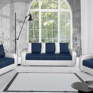 JUSTyou Mono Polstergarnitur Sofa Couchgarnitur Weiß Blau
