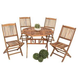 Sitzgruppe Gartenmöbel Akazie Holz Essgruppe Sitzgarnitur 5-tlg Gartengarnitur - ESTEXO