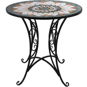 Wohaga® Mosaik Gartentisch rund Ø70cm Mosaiktisch Beistelltisch Bistrotisch Balkontisch Eisen Keramik