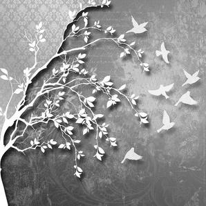CONSALNET Vliestapete »Silber Baum mit Vögeln«, verschiedene Motivgrößen