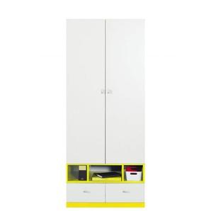 Jugendzimmer - Drehtürenschrank / Kleiderschrank Geel 23, Weiß / Gelb - Abmessungen: 195 x 80 x 50 cm (H x B x T)