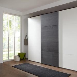 Schwebetürenschrank in alpinweiß und Absetzungen in Schwarzeiche-Nachbildung, mit 3 Einlegeböden und 3 Kleiderstangen, Maße: B/H/T ca. 270/210/65 cm