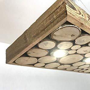Blockholz-Schmiede LED Holz Hängelampe 80cm - 160cm Lampe Smart Home Rustikal Massivholz Altholz, Größe: 3 LED 80cm x 42cm, Formatvorlagen Name: Osram 5W Dimmbar Warmweiß