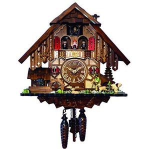 Selva Kuckucksuhr Hinterzarten Traditionelle Schwarzwälder Handwerkskunst - Made in Germany - In Nussbaum gebeiztes, aufwendig dekoriertes Fachwerkhaus - Zeitlos, schick. (Höhe: 35 cm) - C341969