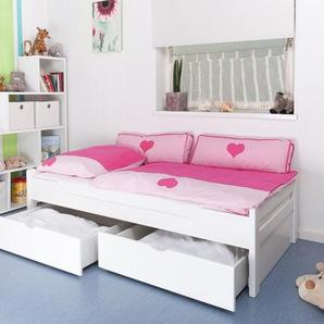 Kinderbett / Jugendbett Easy Premium Line K1/1n inkl 2 Schubladen und 2 Abdeckblenden, 90 x 200 cm Buche Vollholz massiv weiß lackiert