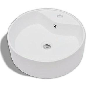 vidaXL Waschbecken Design Keramik mit Hahnloch Waschschale Aufsatzwaschbecken