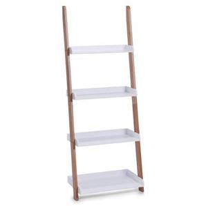 Zeller 18632 Leiter-Regal mit 4 Böden, Bamboo/Mitteldichte Holzfaserplatte (MDF), 55 x 30 x 145 cm, weiß