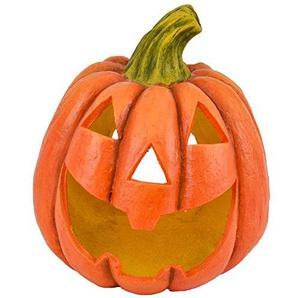 Dadeldo Living & Lifestyle Kürbis Deko Objekt Herbst Halloween Clayfibre 36x32x28cm orange Grusel