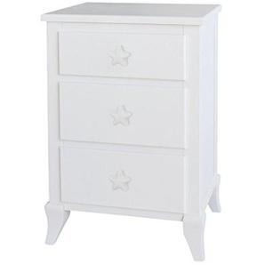 bainba Nachttisch mit DREI Schubladen Türknauf Stern 33x43x66 cm weiß