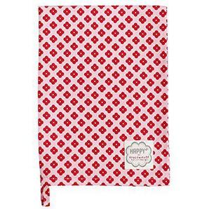 Krasilnikoff - Geschirrtuch, Trockentuch - Diagonal Flowers - Rosa-Rot - Baumwolle - 50x70 cm
