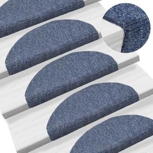 15-tlg Selbstklebende Treppenmatten Nadelvlies 65x21x4cm Blau - VIDAXL