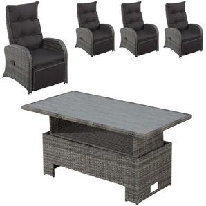 Gartenmöbel-Set Colombo (höhenverstellbar, 4 Luxus-Komfortsessel, grau)