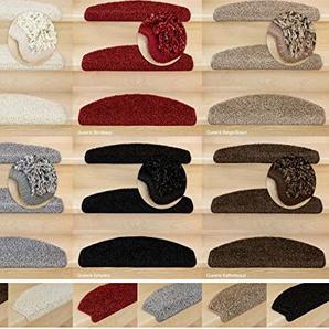 Kettelservice-Metzker® Stufenmatten, Treppen-Teppich Shaggy Queens halbrund, inkl. Fleckentferner, Beige/Braun 10 Stück