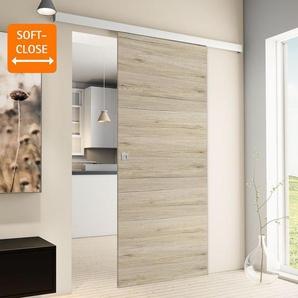 Tür Schiebetür Holz Eiche 880x2035 Zimmertür Holztür Schiebetürsystem - Quadratgriff+2seitiger Softclose - inova Star