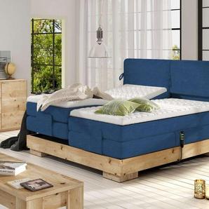 JUSTyou Hypo Boxspringbett Continentalbett Amerikanisches Bett Doppelbett Ehebett Gästebett Massiv Dunkelblau 160x200