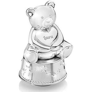 Geschenkidee.de Spieluhr und Spardose mit Gravur   edle Bär-Sparbüchse mit Musik und Wunsch-Namen   Zink-Legierung, Silber