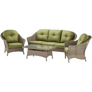 a casa mia Lounge-Set   Monte Carlo ¦ braun ¦ Aluminium pulverbeschichtet/ PE-Geflecht
