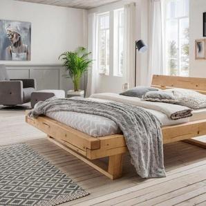 Premium collection by Home affaire Schlafzimmer-Set »Ultima«, (Set, 3-tlg), 3tlg., aus schönem massivem Wildeichenholz in Balken-Optik, bestehend aus 180 cm Bett + 2 Nachttischen