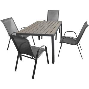 5tlg. Gartengarnitur Polywood Tisch 150x90cm Grau + 4 Stapelstühle mit Textilenbespannung Anthrazit Gartenmöbel Terrassenmöbel Set Sitzgruppe - WOHAGA®