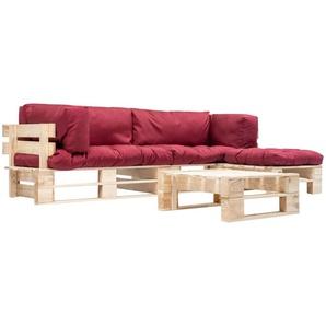 4-tlg. Garten-Paletten-Sofagarnitur mit Roten Kissen Holz - VIDAXL