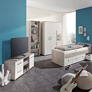 Jugendzimmer, komplett, Komplettset, Kinderzimmer, Jugendbett, Scheibtisch, Standregal, Lowboard, Eiche, Eiche-Sand, Sandeiche, Weiß 3-tlg.