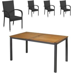 Gartenmöbel-Set San Francisco/Palermo (89x150, 4 Stühle, schwarz)