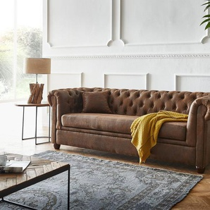 Sofa Chesterfield 200x88 Braun Vintage Optik 3-Sitzer Couch, Chesterfields