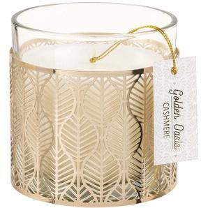 Kerze im Behälter aus Glas und Metall, goldfarben