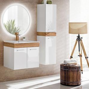 Aria Badmöbel-Set / Komplettbad 4-teilig in Weiß, Waschtisch 50 cm, LED-Spiegel