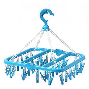SMARTrich Kunststoff Fold Trocknen Rack 32Clips Kleiderbügel, plastik, blau, 02#